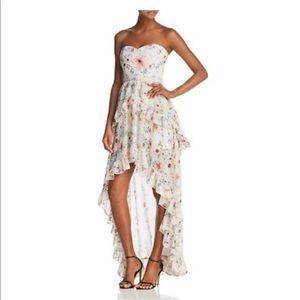 Aqua floral high/low maxi dress Small